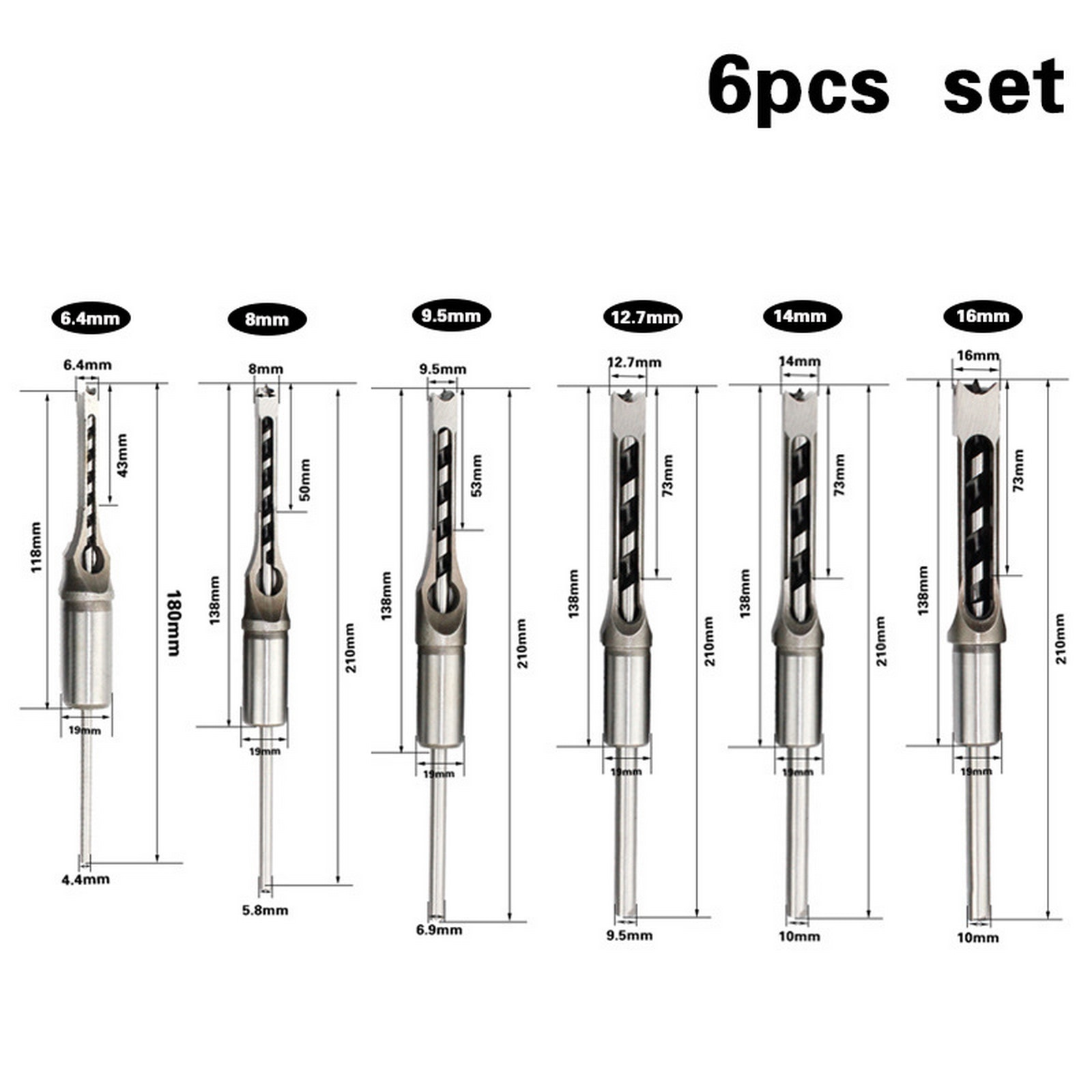 6PCS Woodworking Rotary Bit Set Square Hole Square Bit Set Mortise Chisel Extended Twist Bit Saw Drill Hand Tool Hole Opener