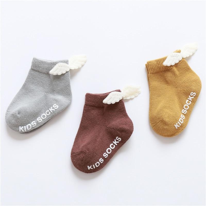 Newborn Baby Socks Wings Anti Slip Baby Socks for Girls Infant Cotton Baby Girls Socks 3Pairs/lot