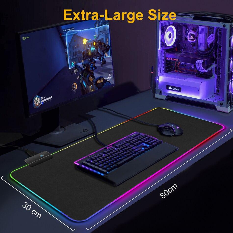 Alfombrilla de ratón para videojuegos alfombrilla de ratón para Gamer alfombrilla de ratón grande alfombrilla de ratón RGB alfombrilla de ratón XXL retroiluminada alfombrilla de escritorio con retroiluminación