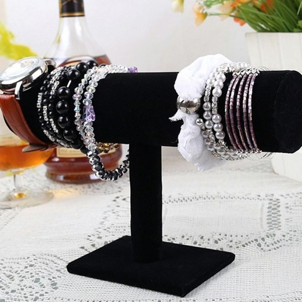 Fluwelen Sieraden Display Rack Sieraden T-Bar Rack Sieraden Organisator Opslag Voor Armband/Bangle/Horloge/ ketting Display Stand