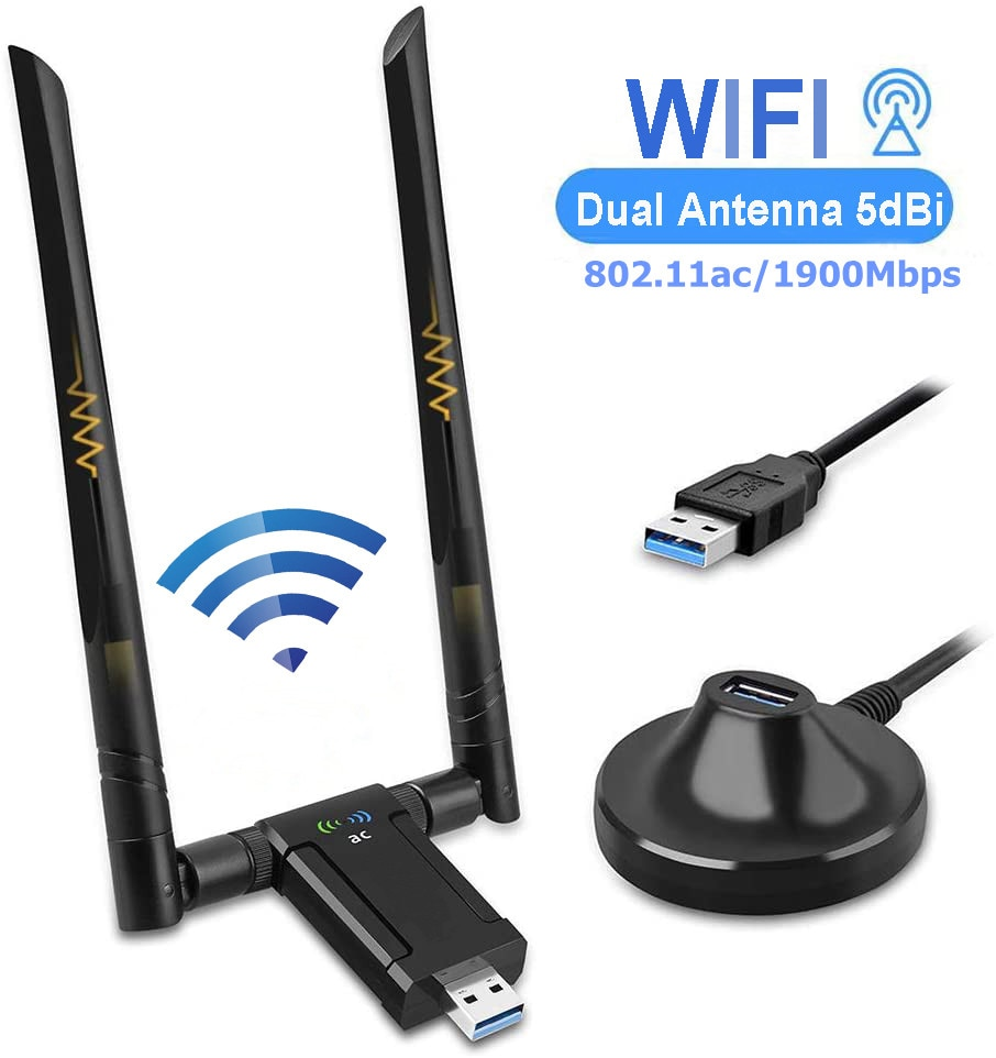 KuWFi 1900Mbps adaptador Wifi USB de doble banda 5dBi Wifi antena USB3.0 tarjeta de red inalámbrica para PC escritorio Lapt