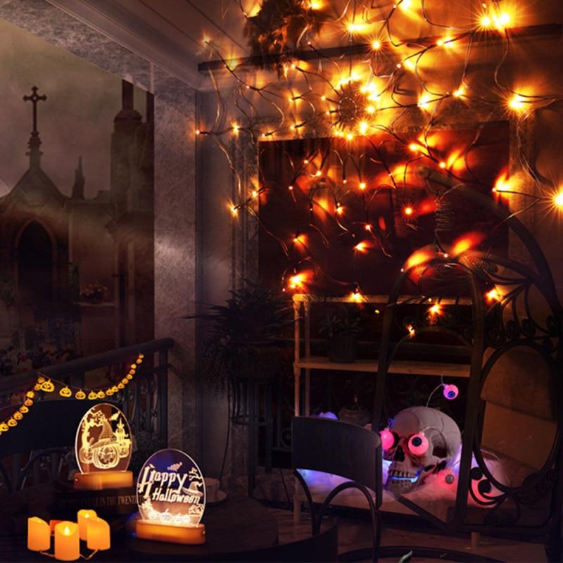 halloween led aranha web string luz decoracao net iluminacao halloween abobora fantasma