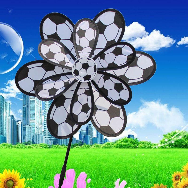 OOTDTY niños de doble capa DIY Molino de fútbol viento Spinner molinete casa jardín patio Decoración Juguetes al aire libre
