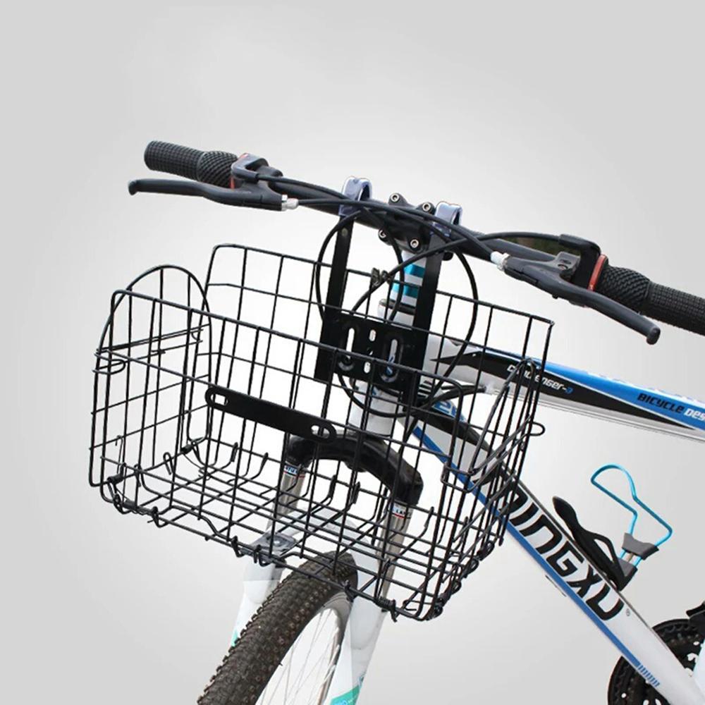 Bicicleta nueva cesta de bicicleta bolsa trasera y delantera alambre metálico plegable cesta de transporte de bicicleta de montaña