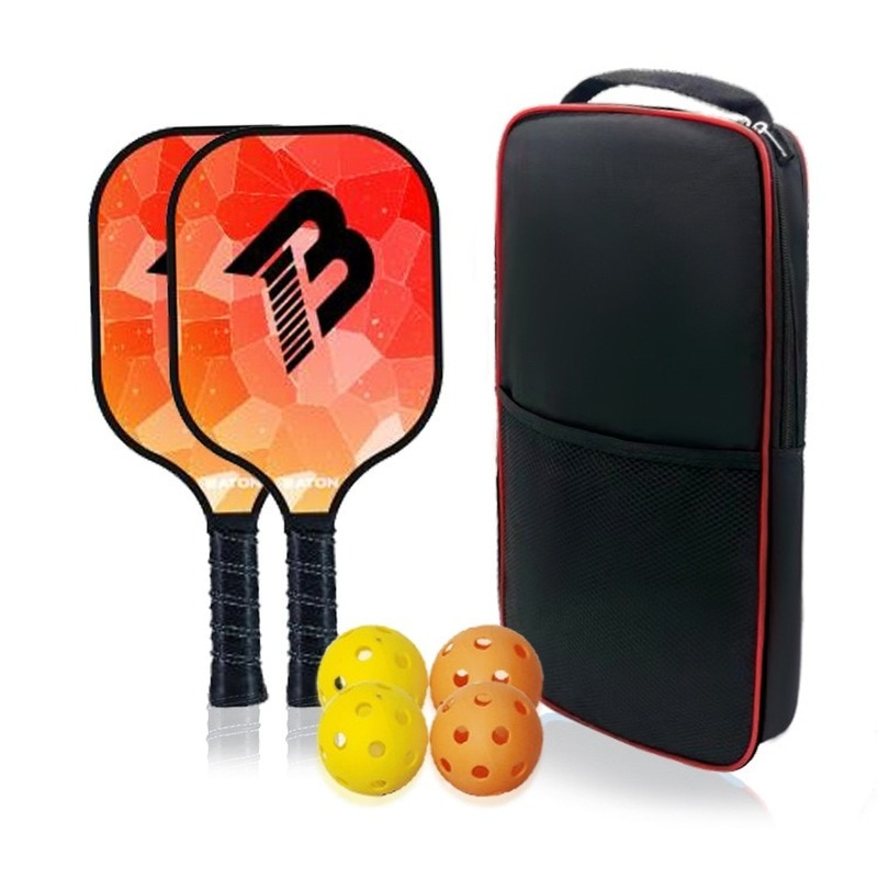2 Pickle Rackets 4 Balls 1 Bag Cricket Carbon Fiber Polymer Honeycomb Center Cushioning Grip About 1.2KG Outdoor Sporting Goods