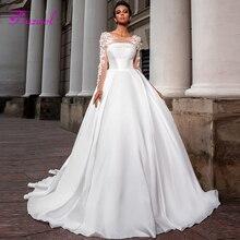 Fsuzwel Romantic Scoop Neck Long Sleeve A-Line Wedding Dress 2020 Luxury Beaded Appliques Satin Court Train Vintage Bridal Gown