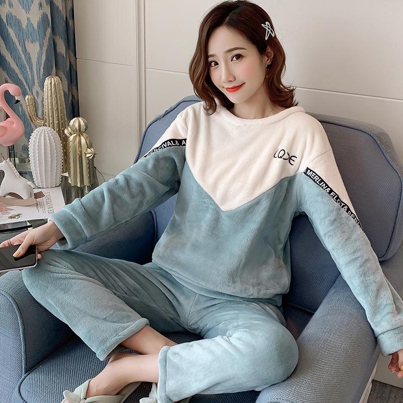 Inverno 2 pçs pijamas para mulher quente engrossar em torno do pescoço pijamas definir flanela bonito dos desenhos animados impressão pijamas femme casa roupas terno