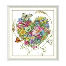 Joy Sunday вышивка крестиком бабочки Любовь Цветы ясный Паттер цветочный принт Счетный узор крестиком наборы для начинающих