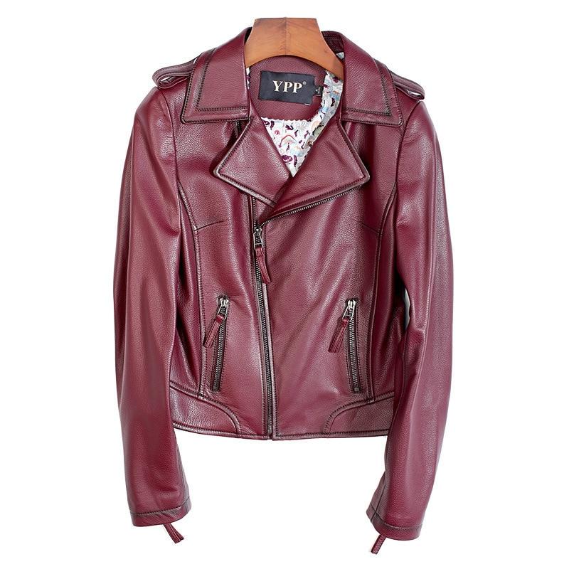 2020 primavera otoño chaqueta de cuero genuino ropa mujer corta ajustada piel de oveja auténtica Borgoña chaquetas abrigos de talla grande 5XL Oversize