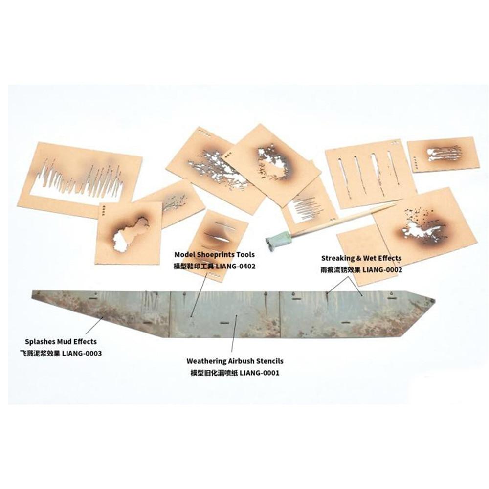 Splashing Mud Streaking & Wet Effects Airbrush Stencils Leak Spray Paper for 1/35 1/48 1/72 Tank Ship Car Model