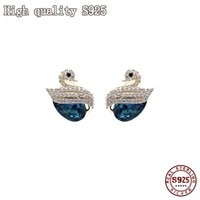 high quality s925 silver blue crystal temperament swan charm lady earrings fashion jewelry wholesale earrings for women