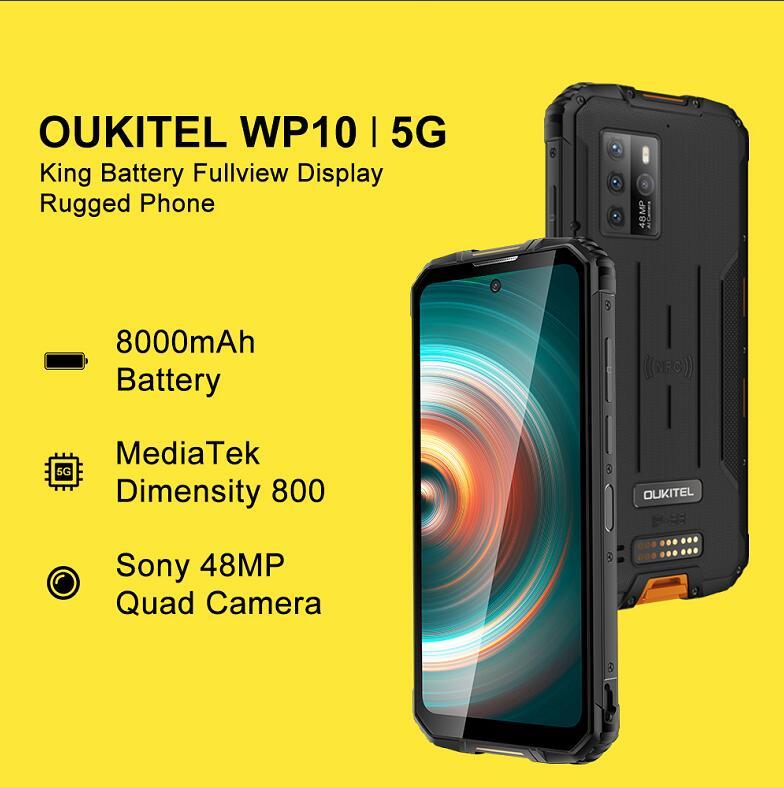 Перейти на Алиэкспресс и купить Глобальная версия OUKITEL WP10 IP68 Водонепроницаемый 5G прочный смартфон 8 ГБ + 128 ГБ 8000 мАч 48MP 6,67 ''FHD + безрамочный экран android 10 Мобильный телефон NFC