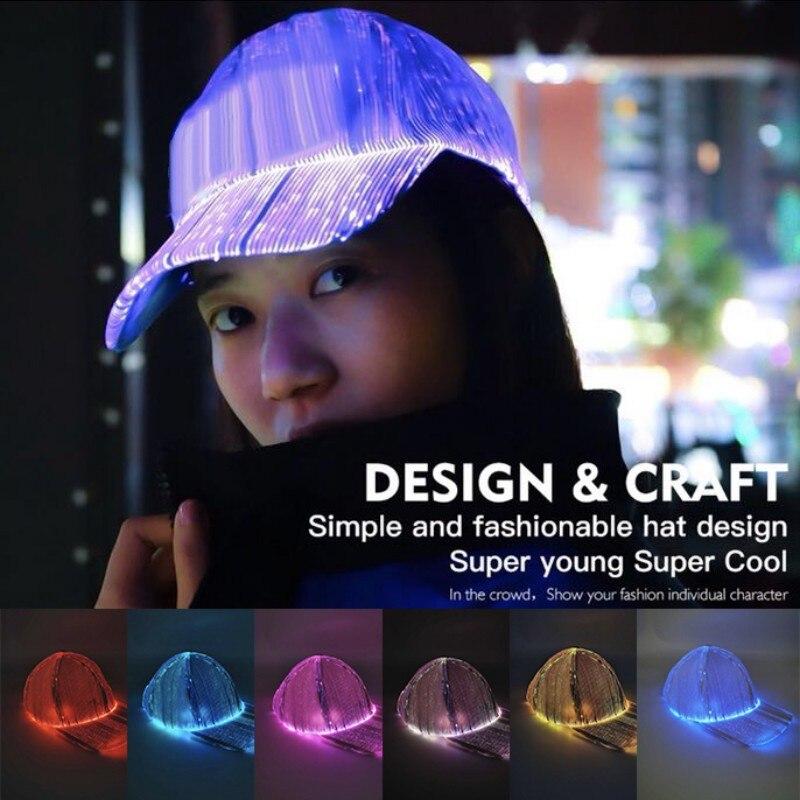 Gorra luminosa LED que cambia de Color, gorra de fibra óptica, gorra de béisbol de colores luminosa, gorra de Hip Hop
