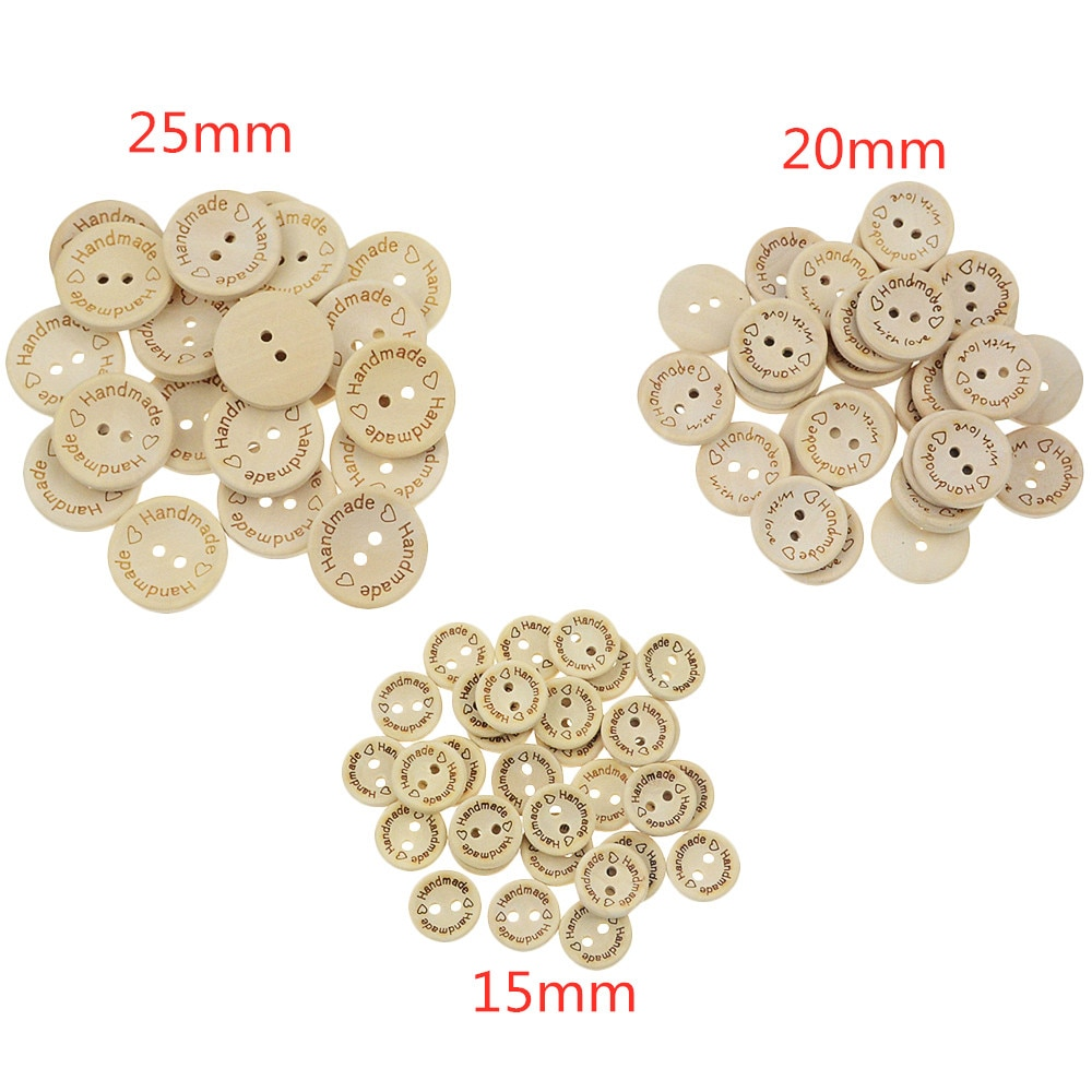 Type de bol boutons en bois   Boutons en bois de couleur naturelle, fait à la main, lettres damour boutons en bois, accessoires pour vêtements de bébé bricolage, 100 pièces/lot