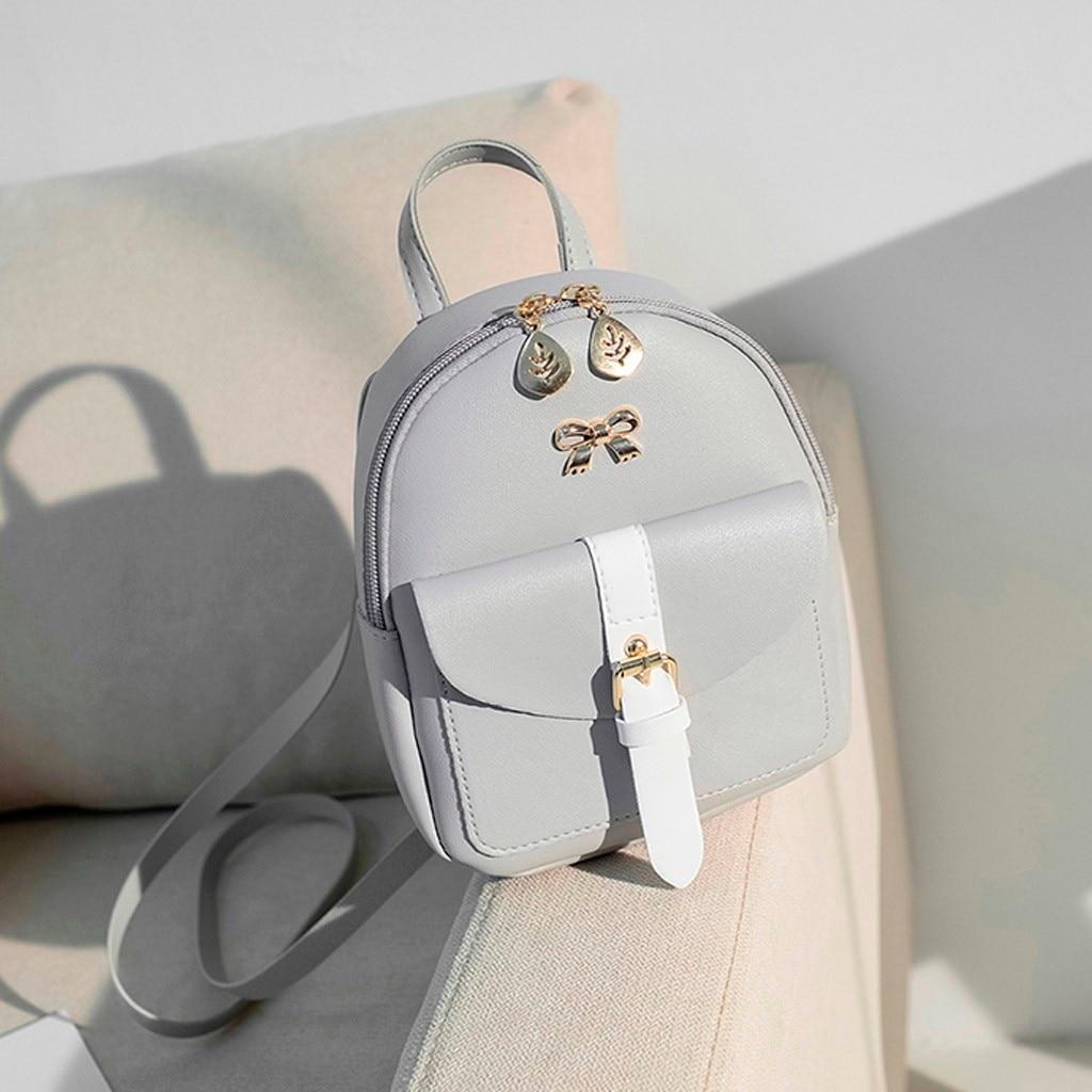 Women's Mini Backpack Luxury PU Leather Kawaii Backpack Cute Graceful Bagpack Small School Bags for Girls Bow-knot Leaf Hollow