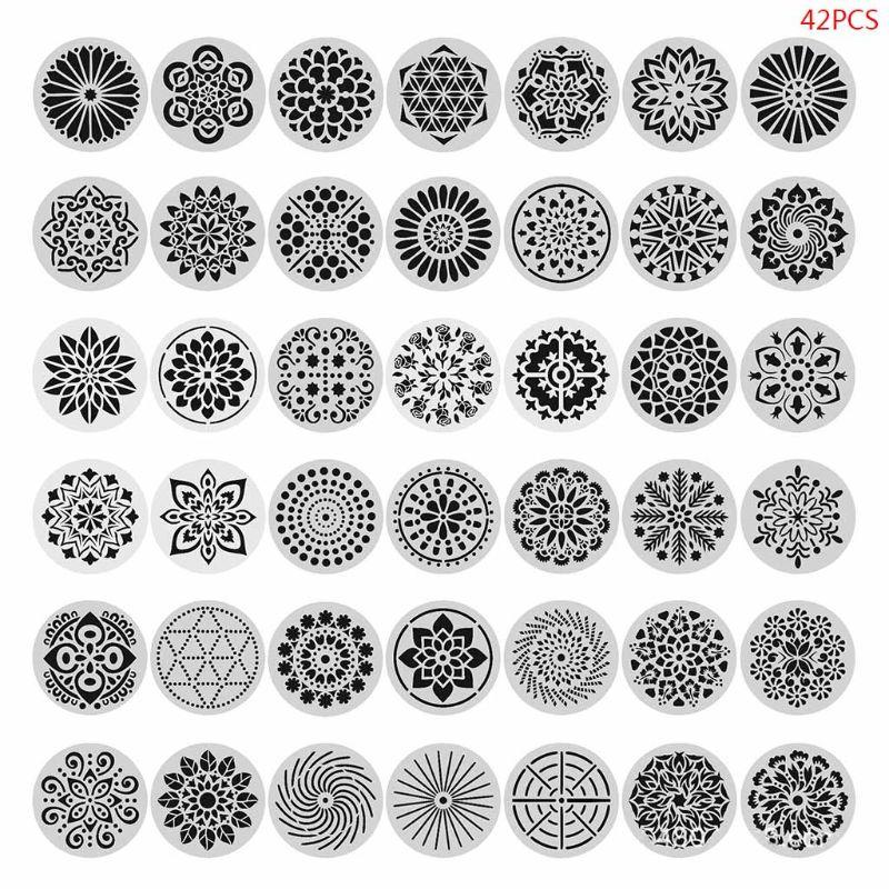 42pcs Round Mandala Painting Templates Stencils for DIY Rock Scrapbook Embossing U4LD