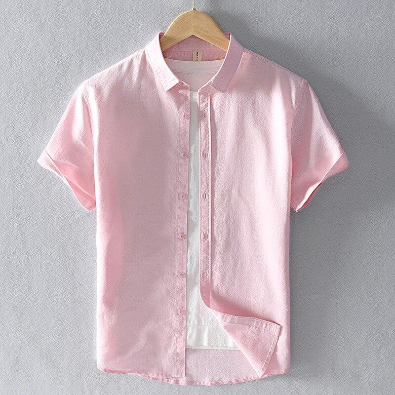Été coton lin manches courtes chemises hommes décontracté mode rose classique col rabattu homme hauts grande taille S-4XL Y2469