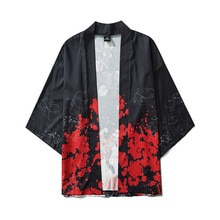 Camisa Masculina 2020 yaz japon beş nokta kollu Kimono Mens ve bayan pelerin Jacke üst bluz Camisas Para Hombre