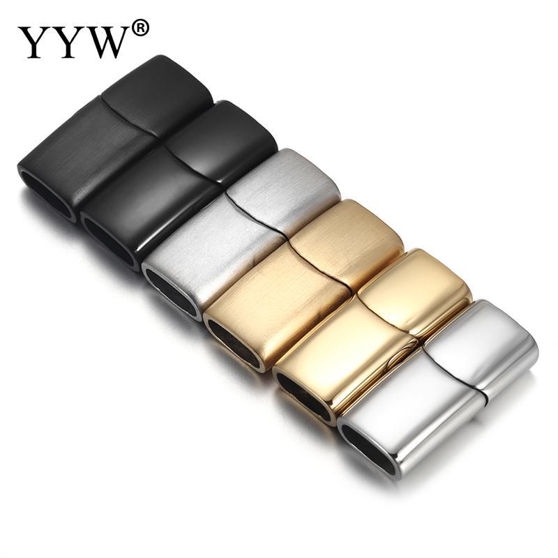 2 uds. Cierres magnéticos de acero inoxidable para pulseras de cuero Diy, abalorios de cuerda, conector, hebilla, accesorios para hacer joyas