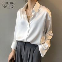 Camisa de seda satinada con botones para mujer, blusa Vintage blanca de manga larga para mujer, camisas holgadas de calle para mujer 11355