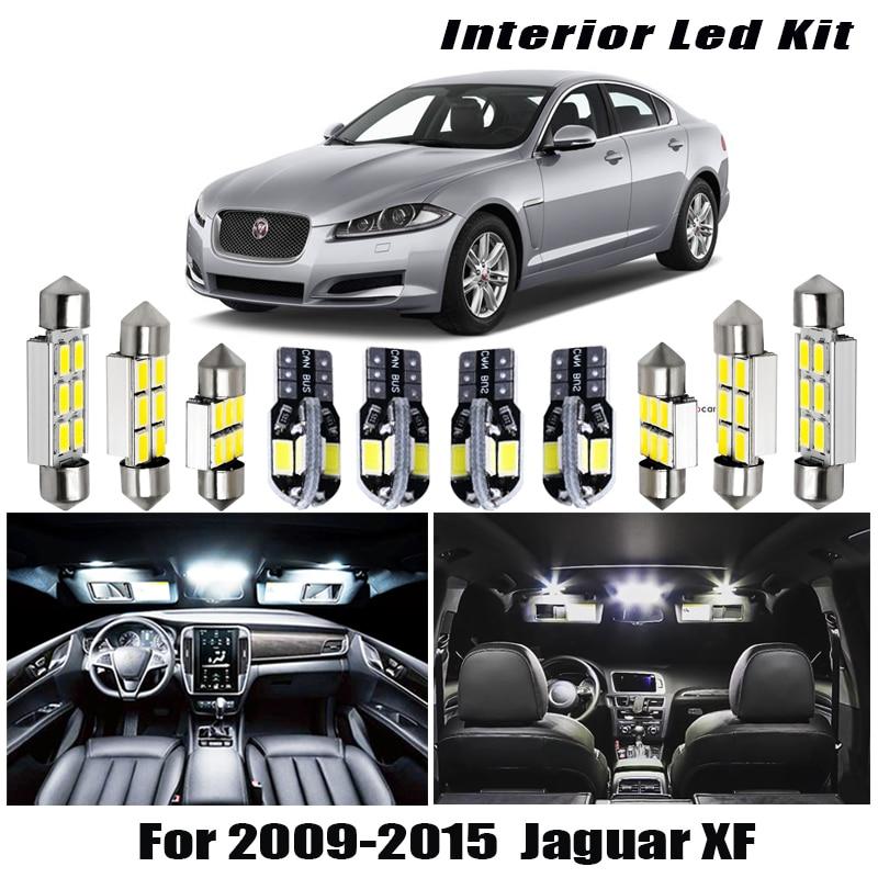 13 Uds blanco luz LED Canbus bombillas Kit de paquete de interiores para 2009, 2010, 2011-2015 Jaguar XF mapa cúpula para maletero o matrícula lámpara