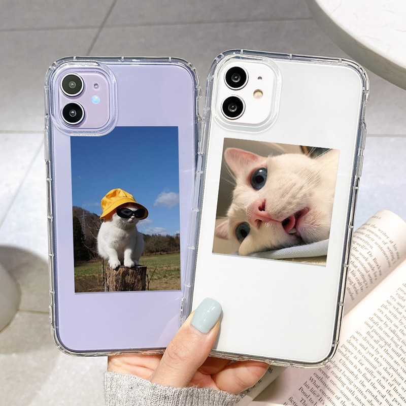Cute Cartoon Cat Phone Case For iPhone 11 12 Pro Max 7 8 Plus X XR XS Max Transparent Shockproof Back Cover