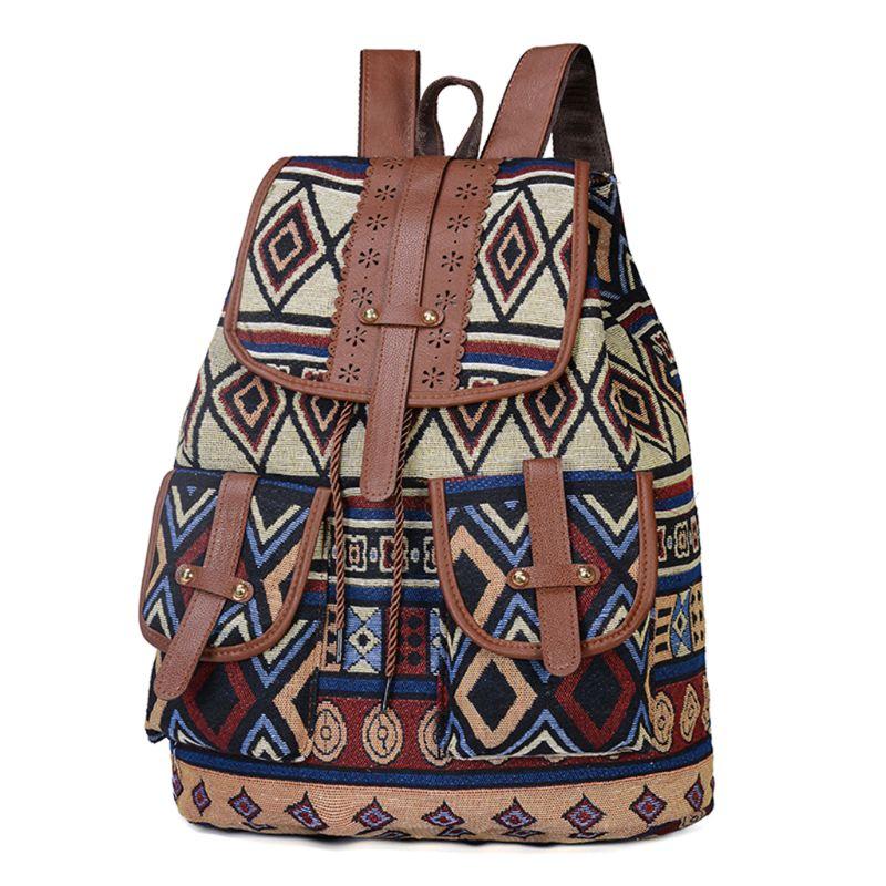 Vintage Print Canvas Ethnic Backpack for Women Girls School Backpacks Drawstring Bohemia Travel Rucksack