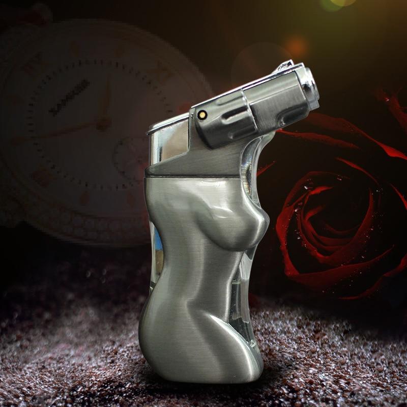 Cigarette Fireproof Windproof Spray Gun Lighter Jet Torch Turbo Lighter Cigar Pipe Lighter Butane LED Light Body Shape enlarge