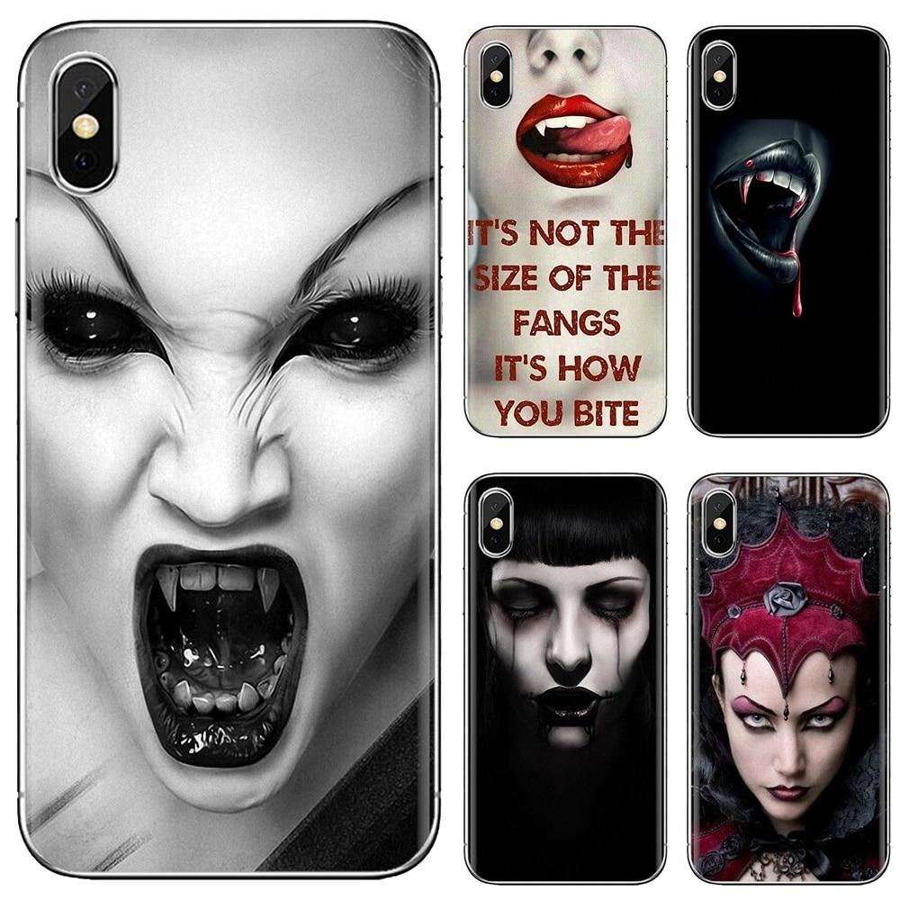Morder sangre vampiro Sexy labios los dientes para Samsung Galaxy J1 J2 J3 J4 J5 J6 J7 J8 Plus 2018 primer 2015 de 2016 de 2017 funda de piel suave