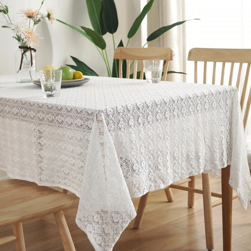 Mantel de encaje blanco para boda fiesta romántico Floral bordado paño hogar café restaurante Decoración de mesa cubiertas