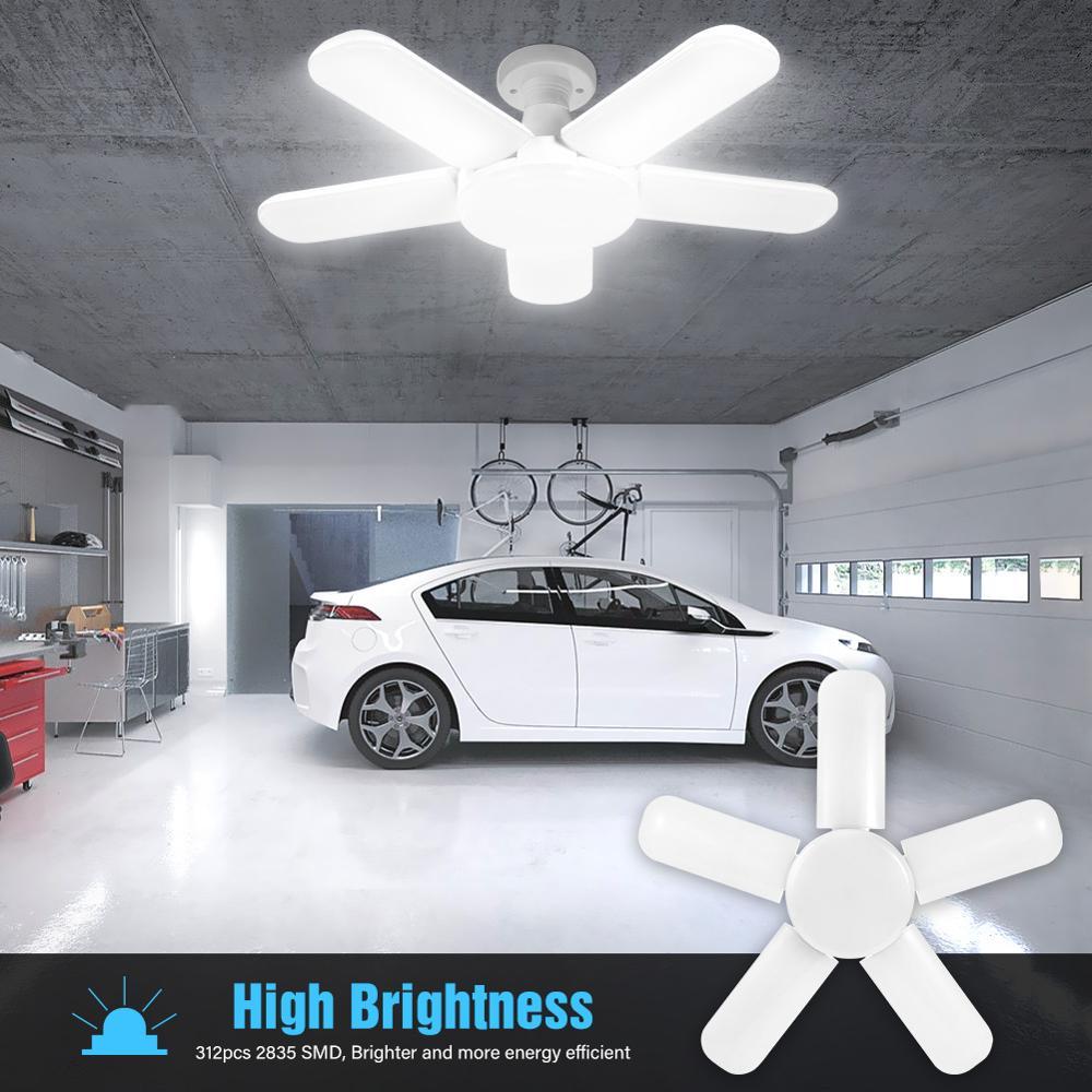 Светодиодный светильник для гаража с пятью листьями, складной потолочный светильник для гаража, регулируемое освещение для высоких промыш...