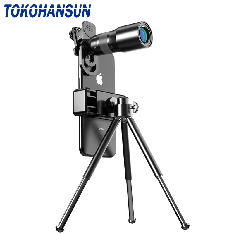 TOKOHANSUN 25X teléfono móvil Monocular telescopio lente teleobjetivo zoom trípode extensible para iphone Samsung todos los Smartphones