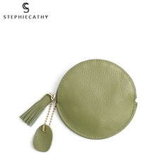 SC Fashion Genuine Leather Women Wallet Mini Coin Purse Zip Round Girls Tassel Key Chain HandBag Real Leather Female Card Holder