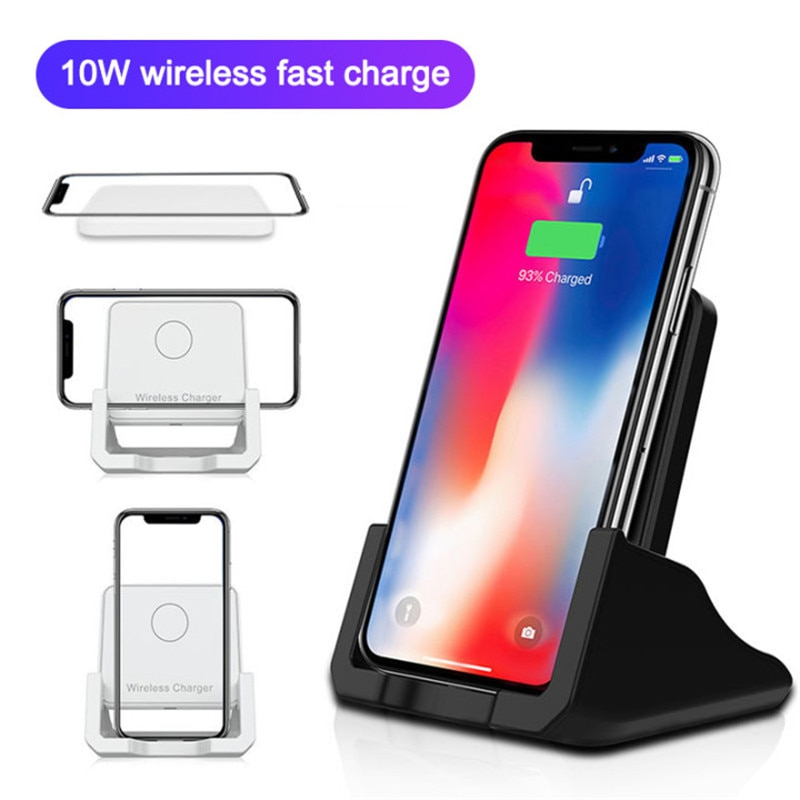 Rápido cargador inalámbrico para iPhone 11Pro/Xr/Xs Max 8 Plus QI teléfono de escritorio titular Horizontal de alta velocidad de carga de soporte para Samsung