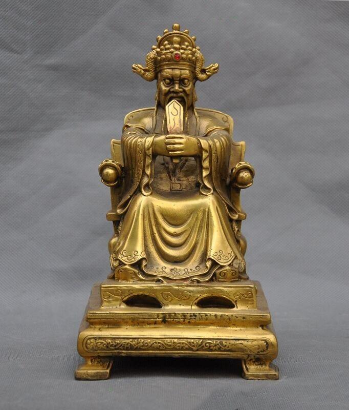 Decoración de boda, tradicional china, taoísmo de latón, asiento mitológico, estatua de Dragon King, Lord, Rain God, Long Wang