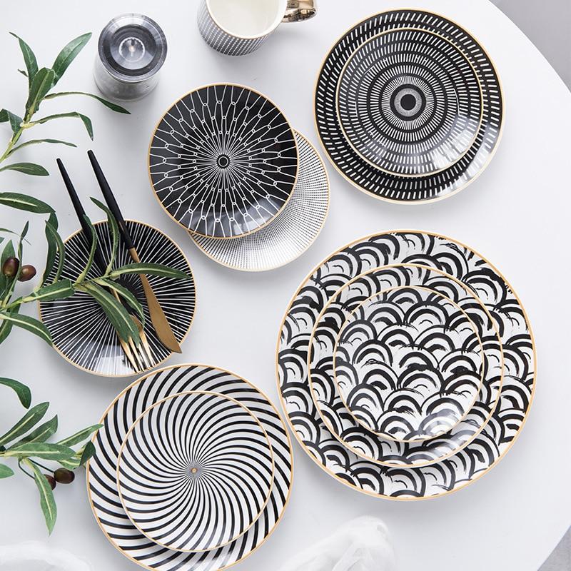1PC Tableware Phnom Penh Geometry Tableware 6/8/10 Inch Ceramic Dinner Plate Dish Porcelain Dessert Plate Dinnerware Cake Plate