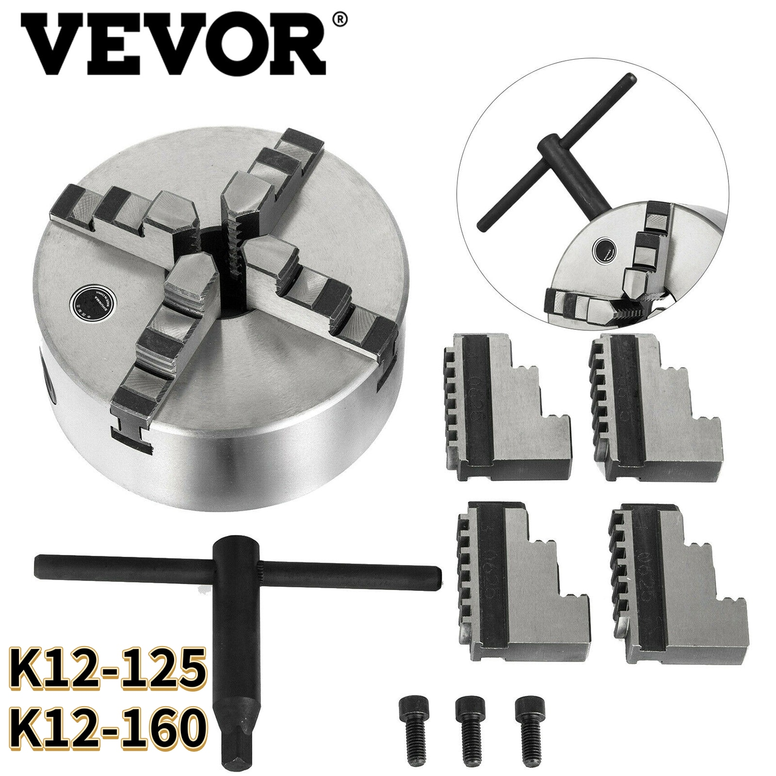 VEVOR 4 Jaw Self-Centering Manual Lathe Chuck W/ 3PCS Mounting Bolt K12-125 K12-160 for Grinding Milling Machines High Precision