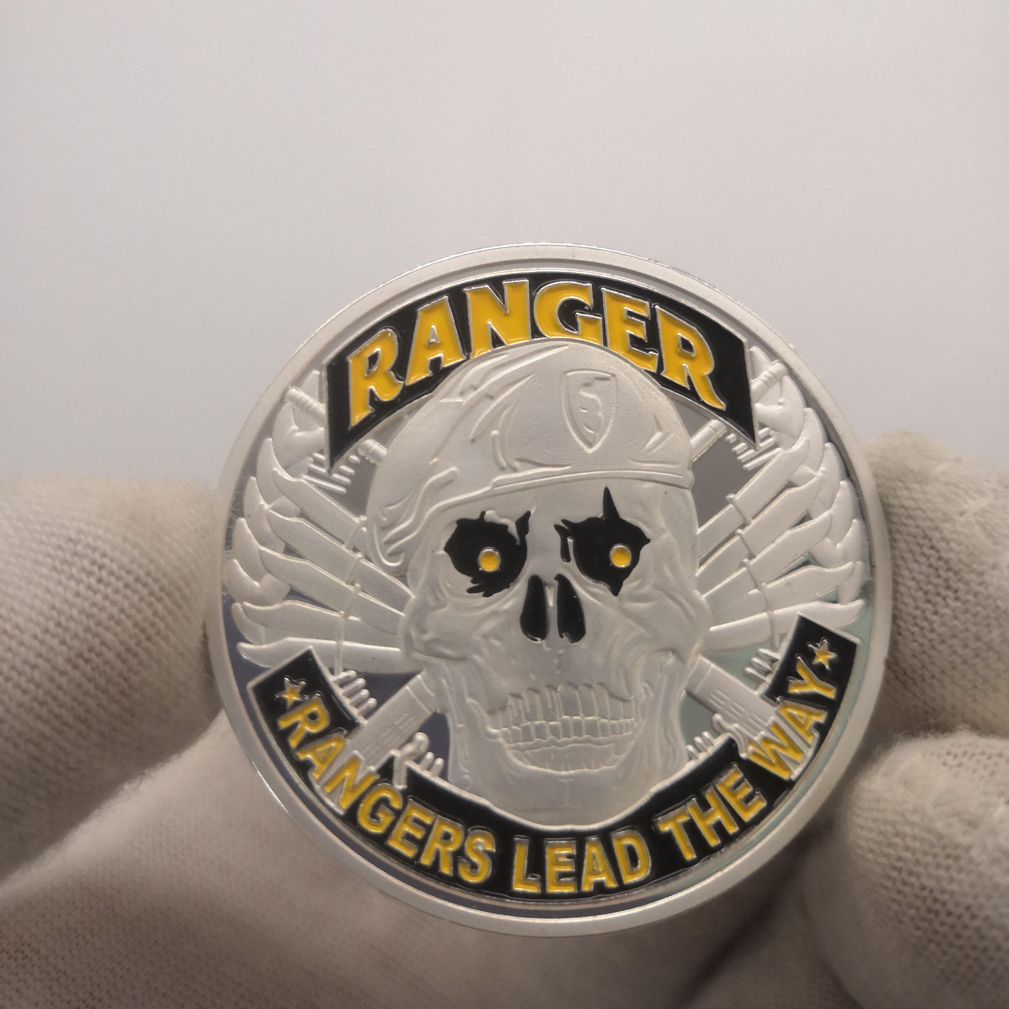 1775 eua departamento do exército ranger prata chapeado moeda comemorativa desafio militar lembrança presente