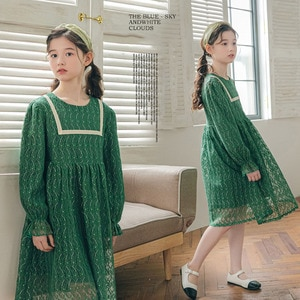 Dress for Girls Long Sleeve Green Lace Evening Dresses Autumn Palace Style Teens School Party Princess Dress Children's Clothing