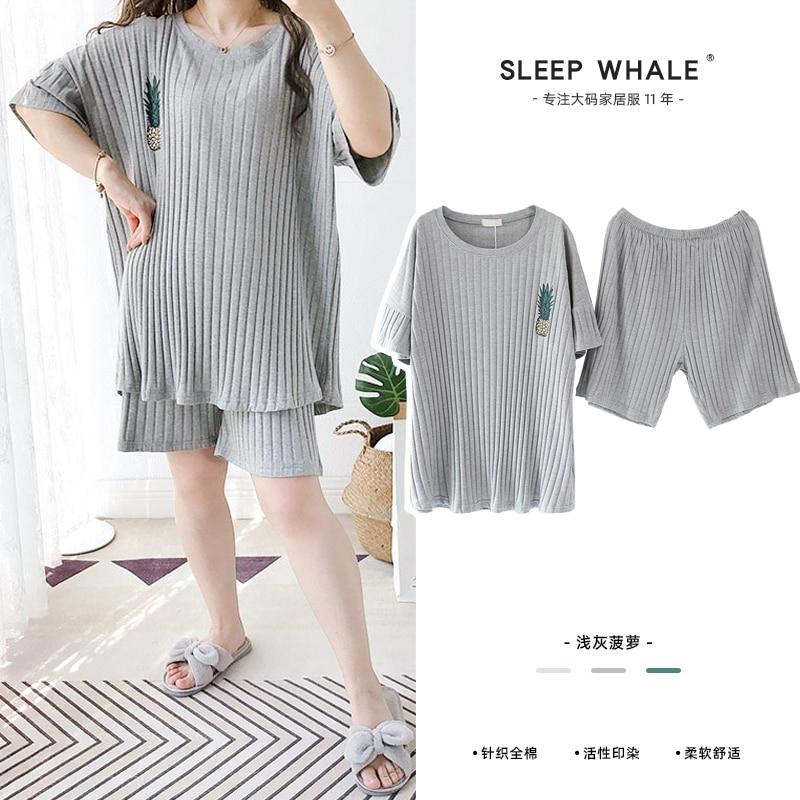 Simple Loose All Cotton Sunken Stripe Pajamas Set Short Sleeve Shorts plus-Sized M Summer Women's Ho