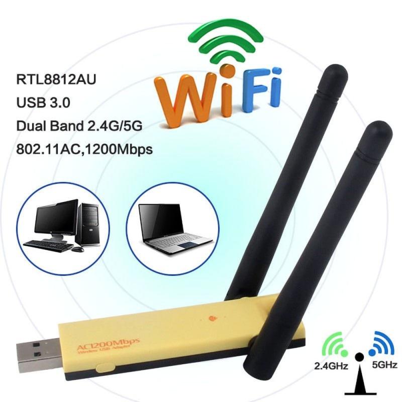 Adaptador de red inalámbrico Dongle WiFi USB 2,4/5 GHz, 1200Mbps, con antena Dual para PC y portátil