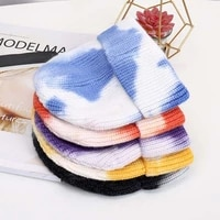 new beanies tie dye ribbed short skull caps for men winter skullies beanie hats for women winter hats bonnet unisex knitted hat