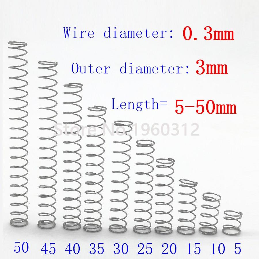 20pcs חוט קוטר = 0.3mm OD = 3mm נירוסטה מיקרו להחזיר קטן דחיסה אנטי קורוזיה הארכת מעיינות L = 5-50