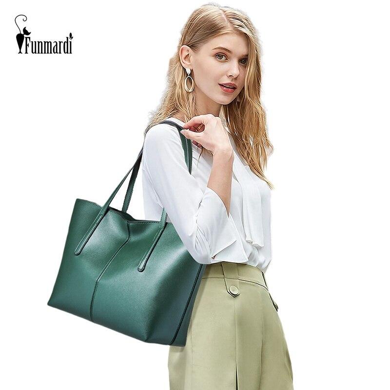 FUNMARDI Large Simple Women Handbags Casual Totes Bag Splicing PU Leather Shoulder Bag 2021 Trend Luxury Hand Bag Lady WLHB2195