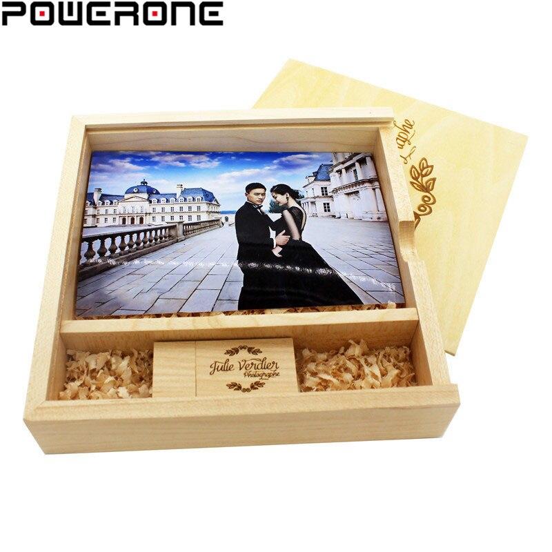 POWERONE, álbum de foto de madera, unidad flash usb, LOGO pendrive personalizado gratis, 4GB 8GB 16GB 32GB 64GB, regalos de fotografía de boda
