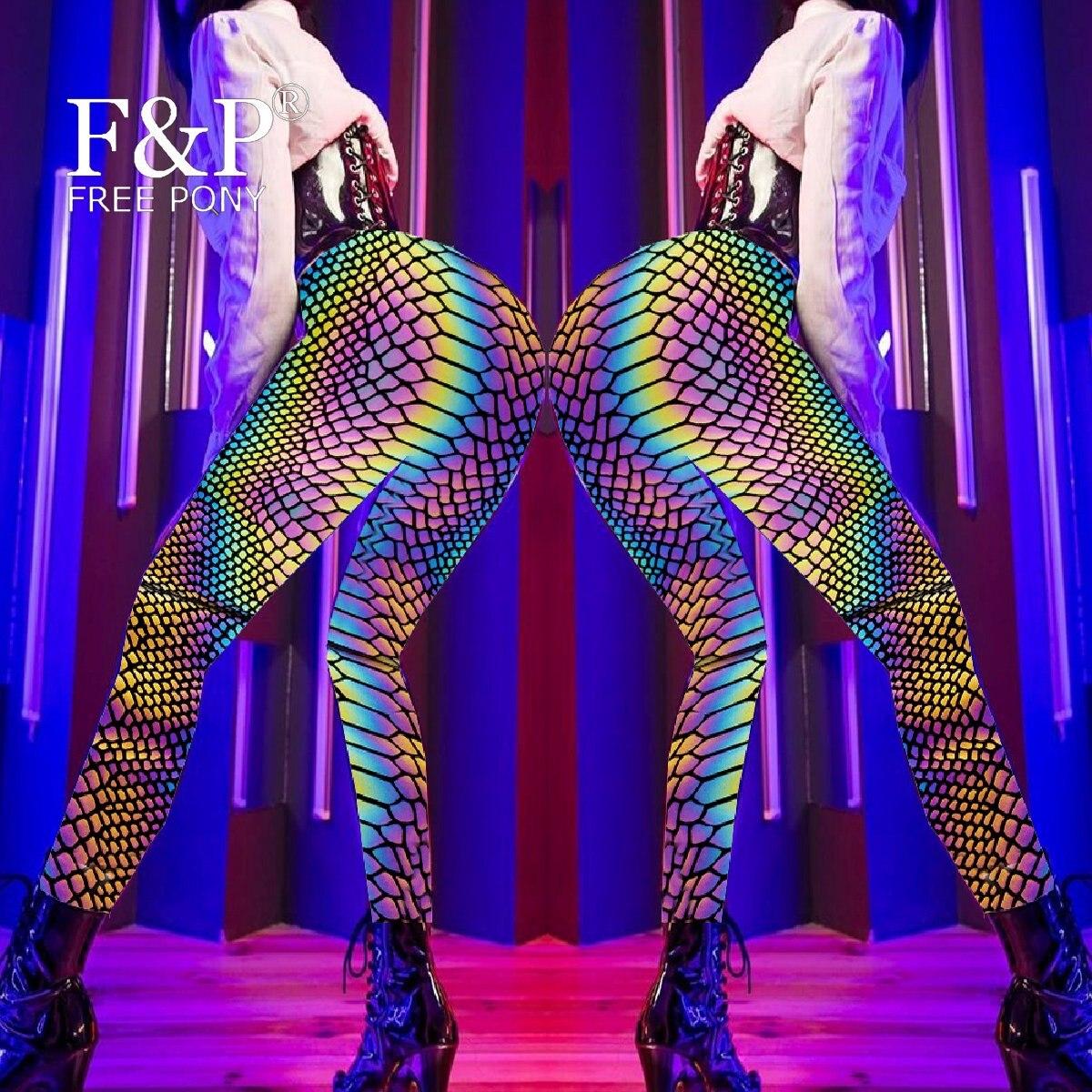 Handmade Plus Size Women Rainbow Reflective Snake Skin High Waisted Leggings Yoga Butt Lifting Pants Rave Festival Clothes