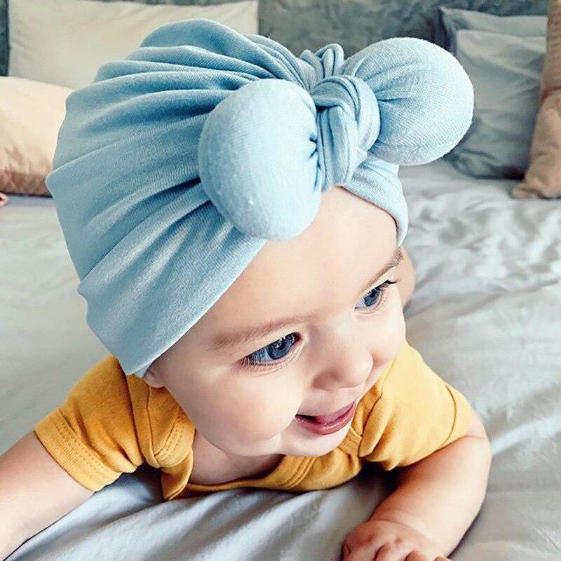 2021 Children's Hat Infant Cotton Beanie Hat Fat Rabbit Ear Knot Indian Hat Turban Cap Baby Bows Hea