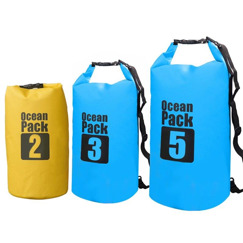 Bolsa seca impermeable de PVC de 3L, 5L, 10l, 15L, con pinza, red resistente al agua, bolsa de almacenamiento para natación, saco para Rafting, Kayak, Camping