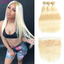 613 Bundles With Frontal Brazilian Straight Blonde Lace Frontal With Bundles Remy Human Hair Weave 3