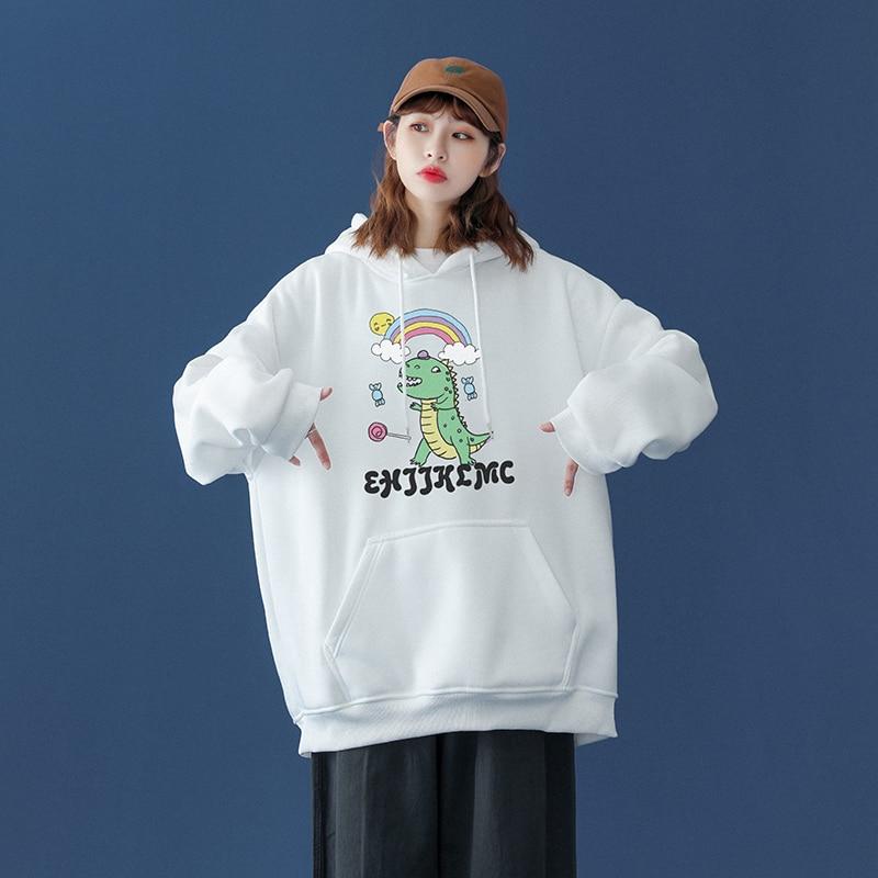 Oversized Sweatshirt Women High Quality dinosaur Printed Pullover Female Pullover Spring Japanese Ca